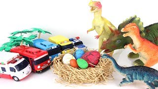 Download Angry Dinosaurs! Tayo The Little Bus to Steal Eggs. Jurassic Park Dinosaurs Toys Mini Fun Movie. Video