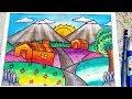 Download Cara menggambar dan mewarnai pemandangan gunung - gradasi warna oil pastel Video
