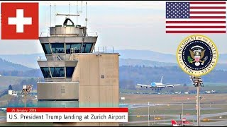 Download Air Force One POTUS Trump Landing Zurich Switzerland WEF 25 January 2018 Marine One + ATC Radio Video
