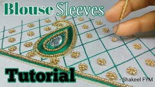 Download Blouse Sleeve Aari Work Tutorial   Blouse Design   aari work sleeves design Video