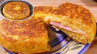 Download Tortilla de patatas estilo SANDWICH - tortilla española rellena de jamon y queso Video