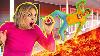 Download EXTREME THE FLOOR IS LAVA CHALLENGE For 24 HOURS || Funny Pranks by 123 GO! Challenge Video