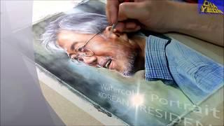 Download 제19대 대통령 문재인 인물수채화 Watercolor portrait speed painting / Korean president Jae-in Moon Video