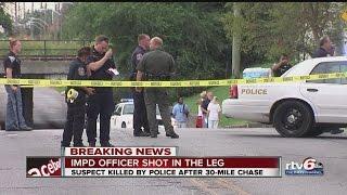 Download IMPD officer shot, suspect killed after chase Video