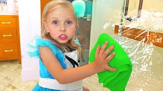 Download Alisa pretend play with cleaning toys ! Little girl helps Mommy to clean the house Video