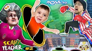 Download SCARY TEACHER falls in HOLE.io + HUGE FGTEEV GRANNY SECRET LEAKED (Miss T #2) Video