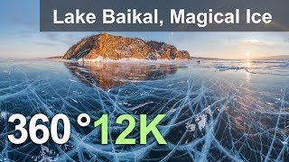 Download 360 video, Lake Baikal, Magical Ice, Russia. 12K aerial video Video