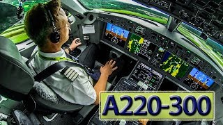 Download Piloting the new AIRBUS A220 out of London Video