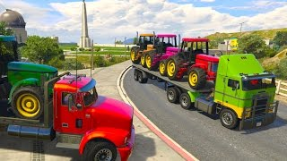 Download Colors TRACTOR Transportation on Truck Cartoon for Kids Video