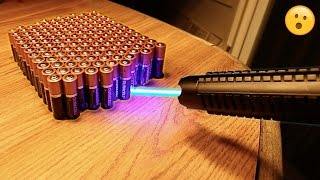 Download EXPERIMENT MOST POWERFUL LASER vs 100 BATTERIES!! Video