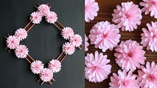 Download Paper Flower Wall Hanging- Easy Wall Decoration Ideas - Paper craft - DIY Wall Decor Video