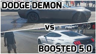 Download SUPERCHARGED 2018 Mustang vs Dodge Demon in the 1/4 mile!! Video