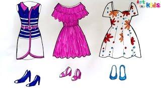 Download Dạy bé học tập vẽ váy thời trang quần áo mũ giày dép | Day be hoc tap ve vay thoi trang | Dạy bé học Video