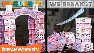 Download Slicing Through a Huge Card Tower   WE BUILD IT WE BREAK IT Video