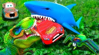 Download Disney Cars Lightning McQueen Dreams Chased Attacked Eaten by Shark Dinosaur Giant Spider Cars Movie Video