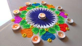 Download Holi special rangoli designs by Radhika || होली रंगोली || Easy and quick muggulu/tricky design - Video