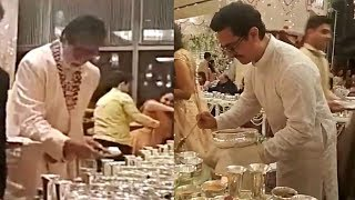 Download Amitabh Bachchan And Aamir Khan Serving Food At Isha Ambani Wedding Video