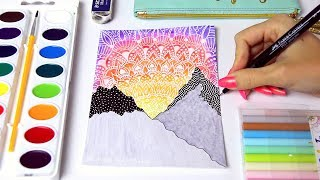 Download WATERCOLOR SUNSET PAINTING with Mandala Doodles & Mountains + Chat // SoCraftastic Video