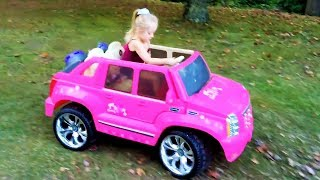 Download Playing in the Park on the Pirate Ship Playground for Kids Pink Car Ride on Power Wheels & Baby Doll Video