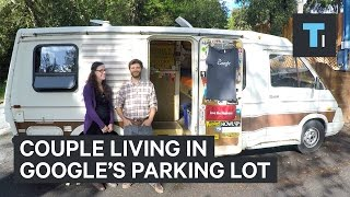 Download Couple living in Google's parking lot Video