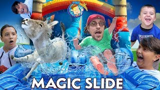 Download SLIDING on MAGIC SLIDES w/ Teleporting Mike (FV Family Vlog) Video