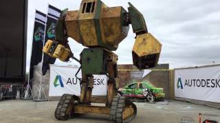Download Megabot vs. Pittsburg Art Car at Maker Faire 2015, San Mateo Video
