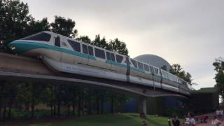 Download Monorail Teal Gets Towed Through Future World at Epcot While Filled with Guests Video