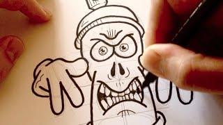 Download Drawing a Cartoon Angry Graffiti Spraycan - Desenhando uma Lata de Tinta Mal-Encarada Video