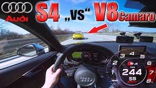 Download Audi S4 chasing Camaro V8 on German Autobahn ✔ Video