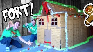 Download LIFE SIZE GINGERBREAD HOUSE FORT! Video