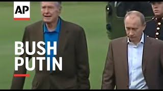 Download Russian Pres Vladimir Putin arrives at Bush home in Maine - 2007 Video