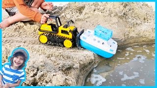Download Construction Truck Videos For Children | Bulldozer Launches Ferry Boat Video