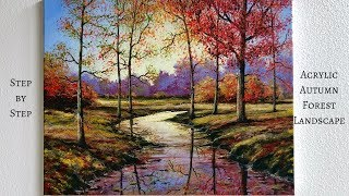 Download Autumn Forest STEP by STEP Acrylic Painting (ColorByFeliks) Video