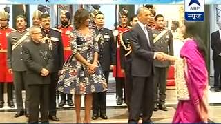 Download Political bigwigs, business tycoons meet Prez Obama in Rashtrapati Bhavan Video