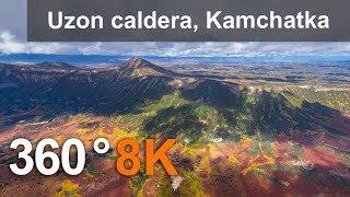 Download 360 video. Uzon volcanic caldera, Kamchatka, Russia. 8K aerial video Video