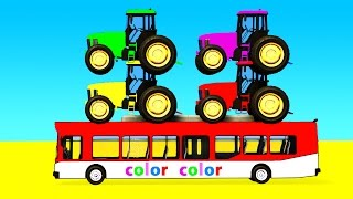 Download COLOR Tractor on Bus & Spiderman Cars Cartoon with Superheroes for kids and babies! Video