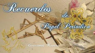 Download Recuerdos para Bautizo y Primera Comunion con Papel Periodico DIY Reciclado Cristo en la cruz Video