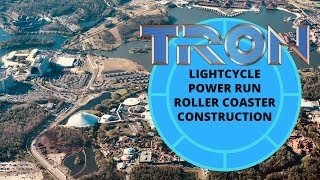 Download Aerial View of TRON Lightcycle Power Run Roller Coaster Construction at Magic Kingdom, Disney World Video