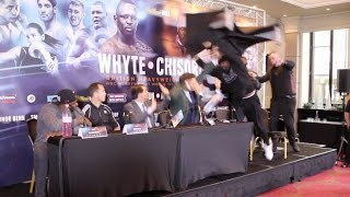 Download UNBELIEVABLE!!! - DERECK CHISORA LAUNCHES TABLE AT DILLIAN WHYTE IN MIDDLE OF PRESS CONFERENCE Video