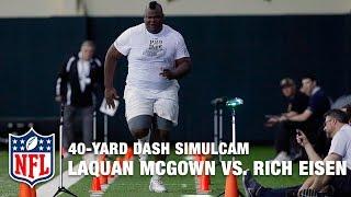 Download 405-Pound Tight End LaQuan McGowan vs. Rich Eisen in 40-Yard Dash Simulcam Race | NFL Video