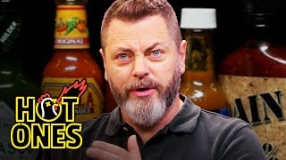 Download Nick Offerman Gets the Job Done While Eating Spicy Wings | Hot Ones Video