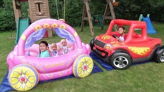 Download Children Play in Princess Carriage & Monster Truck Swimming Pool with Color Water Balloons Video