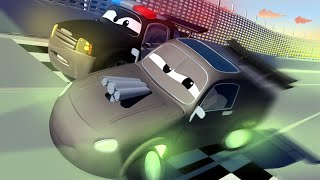 Download STRANGE Vehicle PARKED in the Playground! The Car Patrol in Car City Police Car Fire Truck for Kids Video