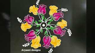Download Newyear special rangoli..Creative beautiful rose buds kolam...rose mandala..7 to 4 dots Video