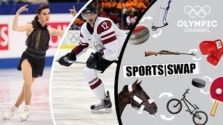 Download Figure Skating vs Ice Hockey | Who Will be Best at the Other Sport? | Sports Swap Challenge Video