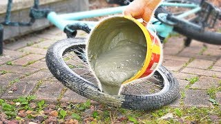 Download What happens if you fill a BMX TIRE with CONCRETE? Video