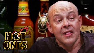 Download Rob Corddry Cries Real Tears Eating Spicy Wings | Hot Ones Video
