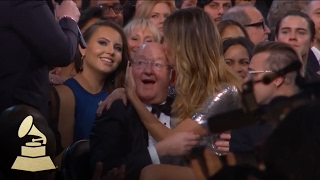 Download Heidi Klum Sits on the Lap of James Corden's Dad | Audience Cam | 59th GRAMMYs Video