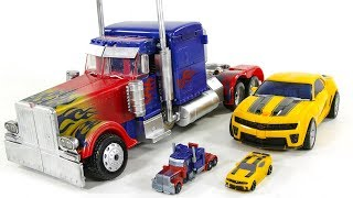 Download Transformers Big OverSized 50cm Custom Optimus Prime Battle OPS Bumblebee Vehicle Car Robots Toys Video