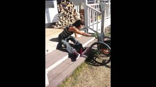 Download Paraplegic going up stairs to get into house Video
